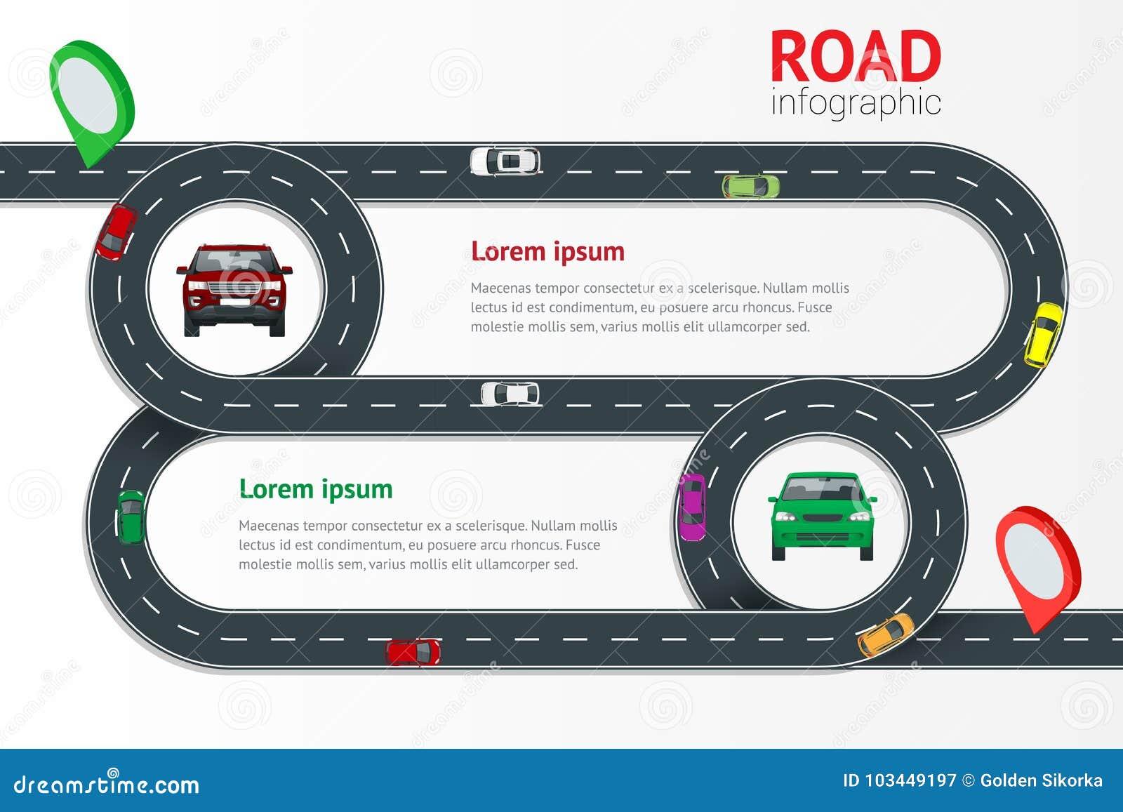 Calibre infographic de route avec l illustration colorée de vecteur d indicateur de goupille Voitures mobiles sur la route, vue s