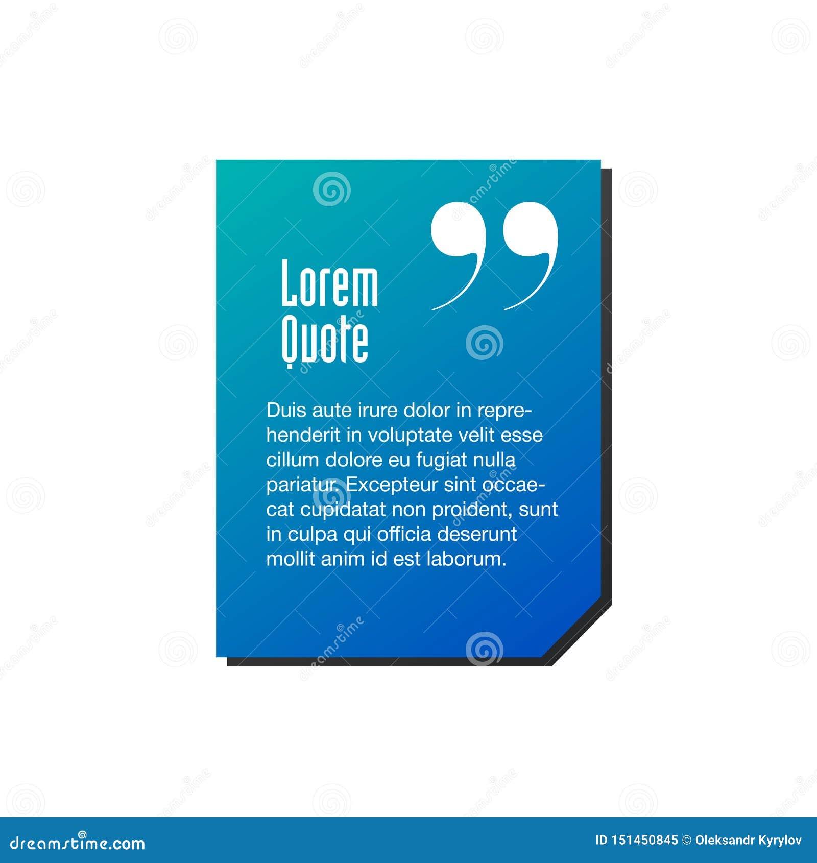Calibre innovateur bleu de citation de vecteur dans les citations Illustration cr?ative de banni?re de vecteur avec une citation