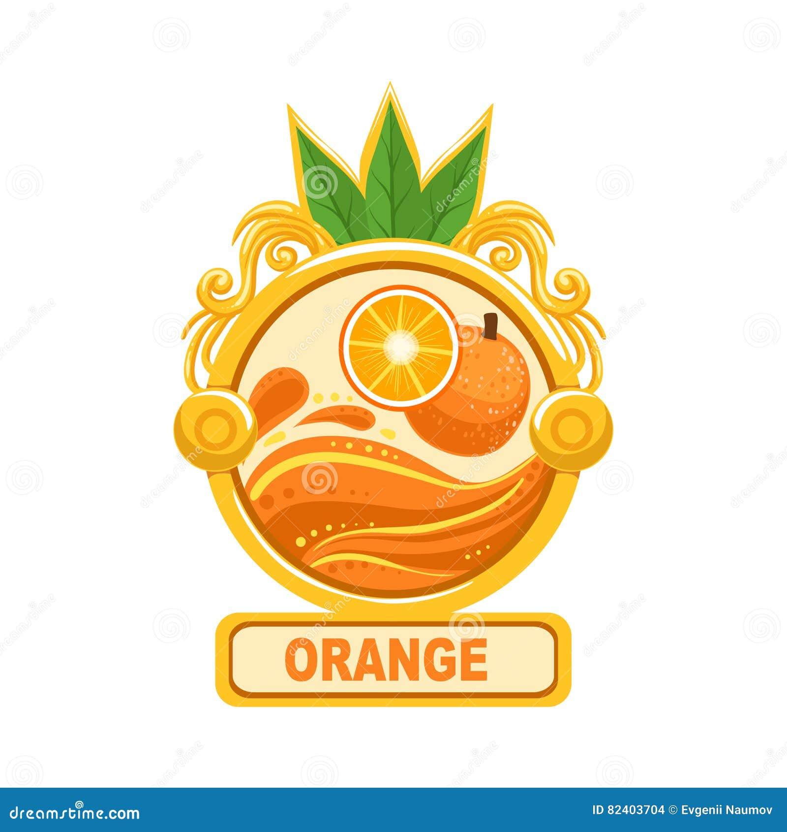 Calibre lumineux orange d autocollant de label de confiture de couleur dans le cadre rond
