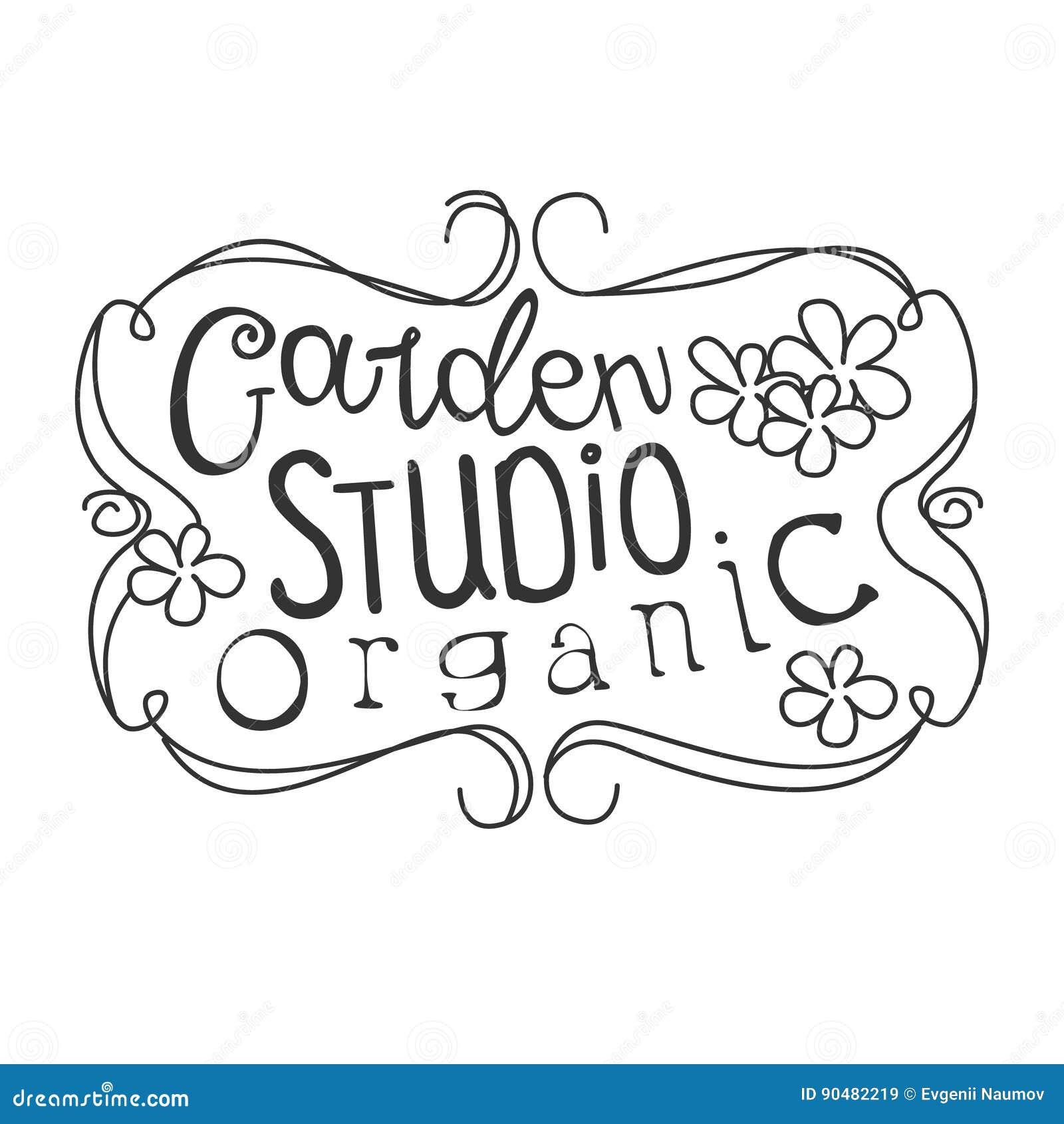 Calibre noir et blanc de conception de signe de promo de studio organique de jardin avec le texte calligraphique avec le cadre de