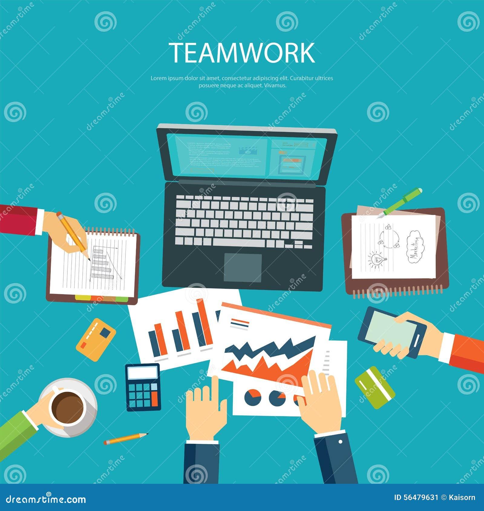Calibre plat de conception de concept de travail d équipe d affaires