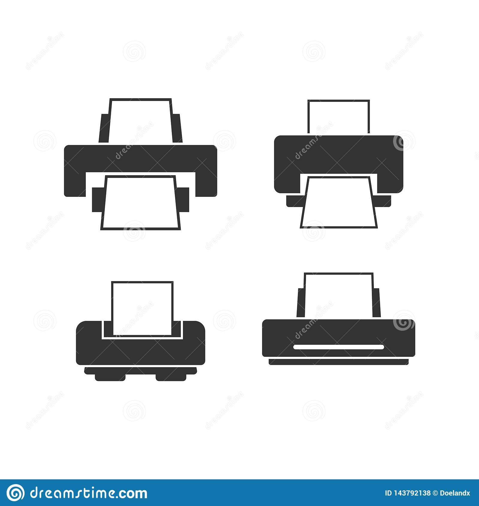 Calibre plat de conception de vecteur d ensemble d icône d imprimante