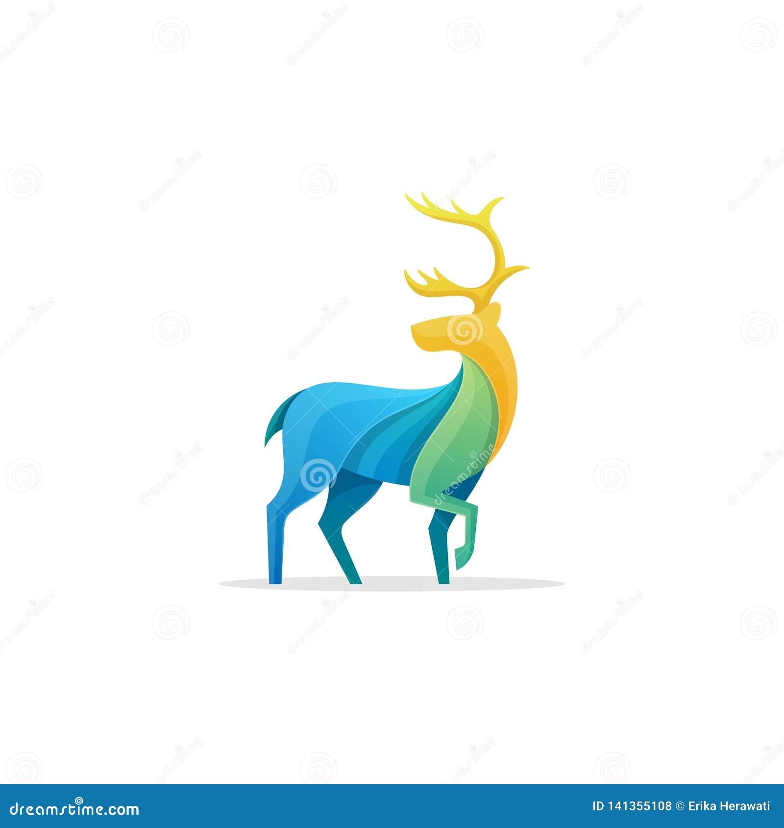 Calibre polychrome de conception de vecteur d illustration de concept de caribou