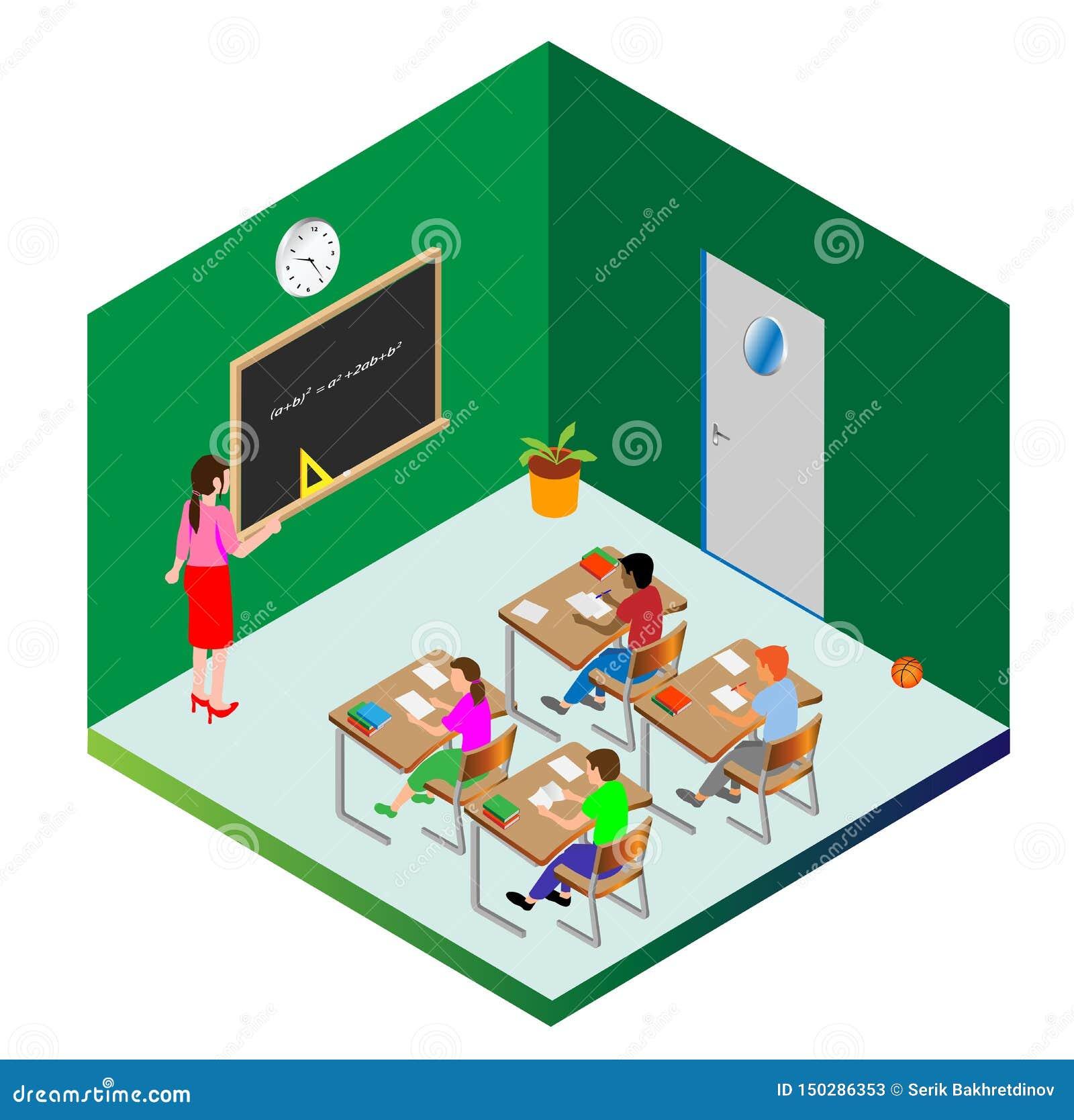 Calibre pour la conception Les écoliers et un professeur sont occupés à l étude Objets de vecteur