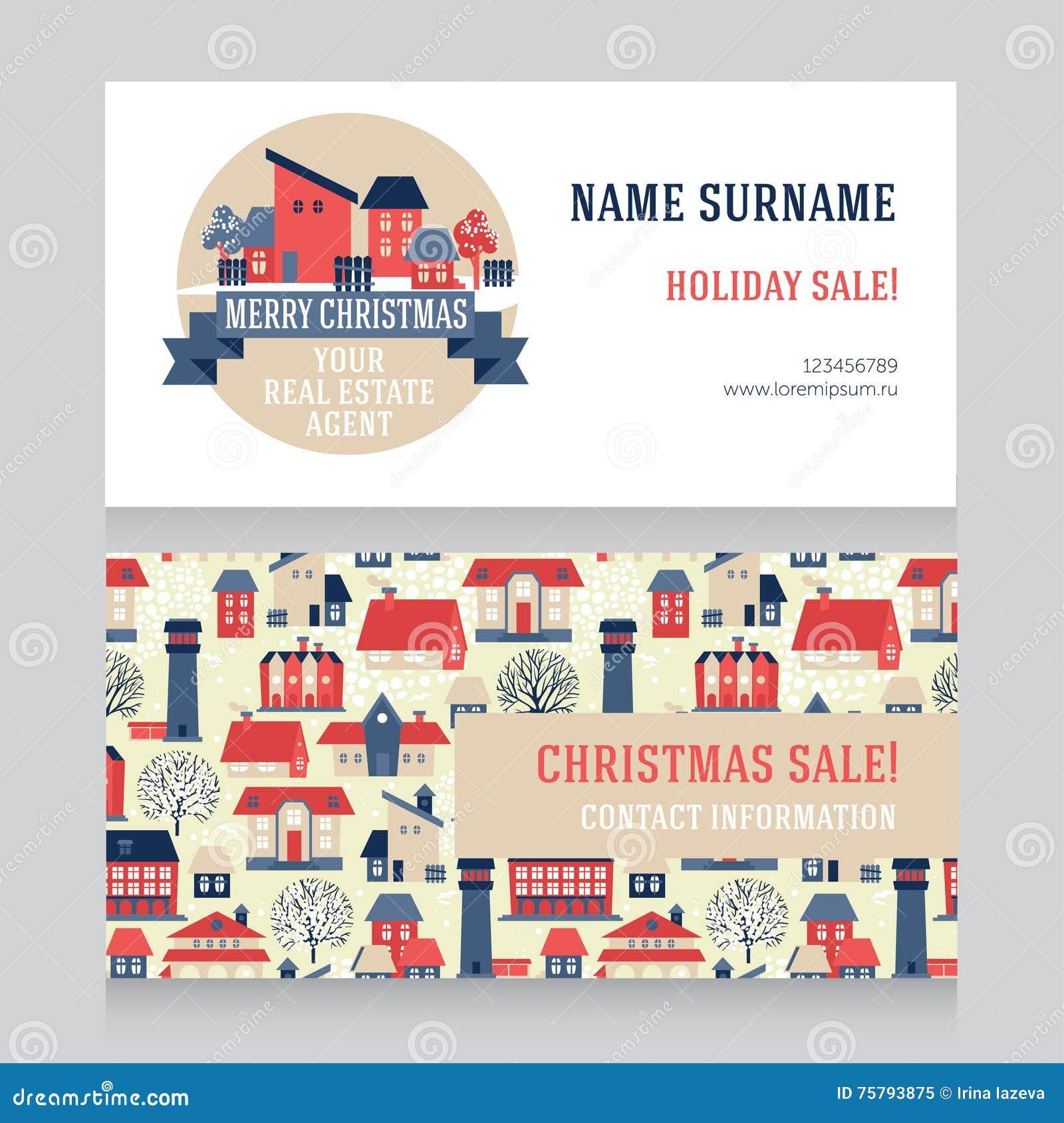 Calibre Lger De Conception Pour La Vraie Carte Visite Professionnelle Dagent Immobilier Illustration Vecteur