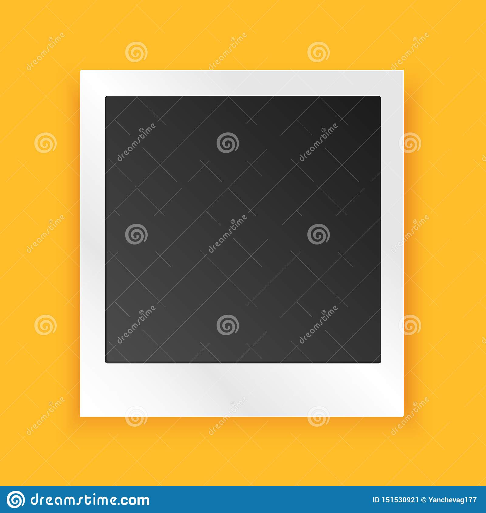 Calibre réaliste de cadre de photo de cru sur le fond jaune