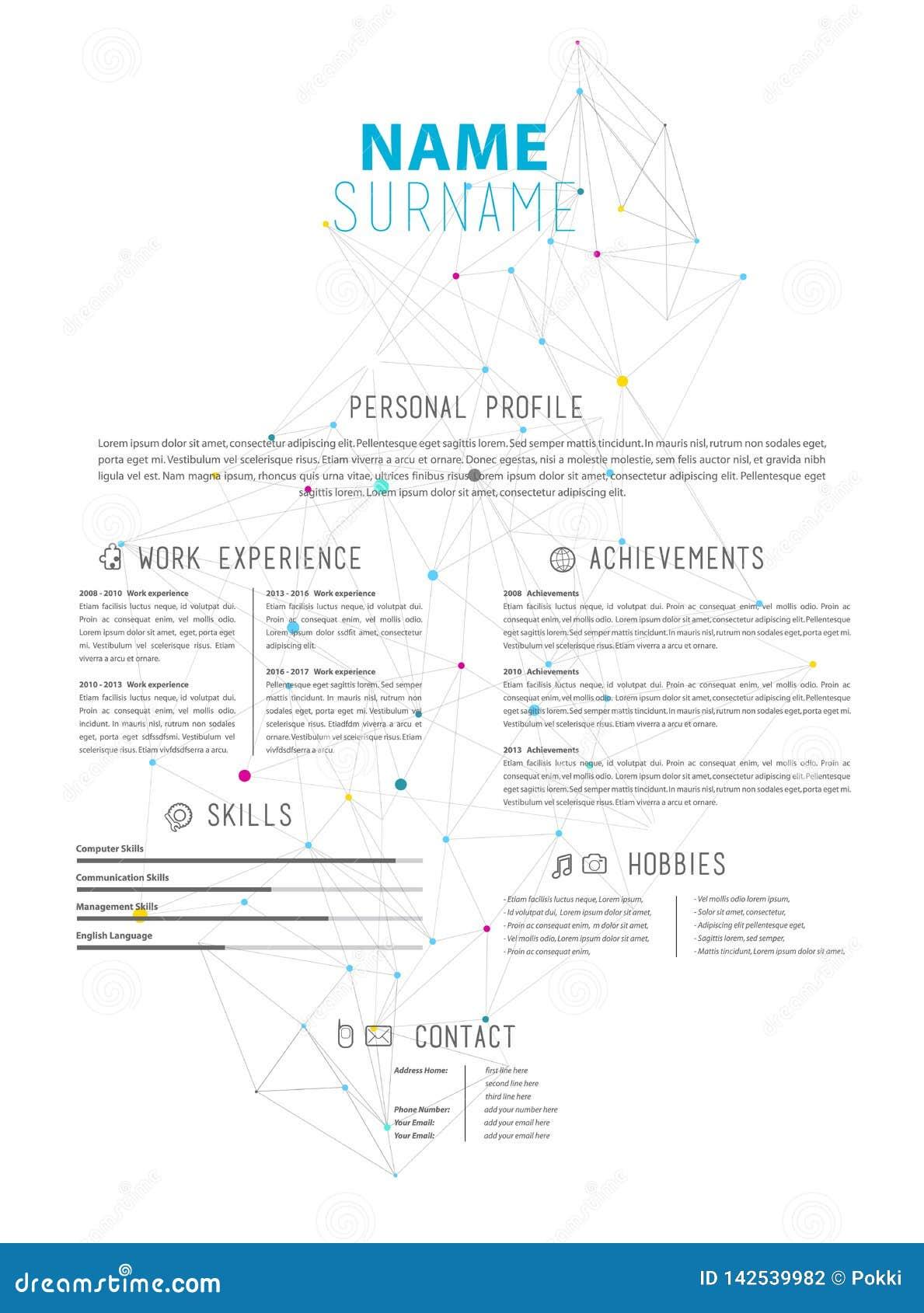 Calibre Simple Créatif De Cv D Illustration De Vecteur Avec