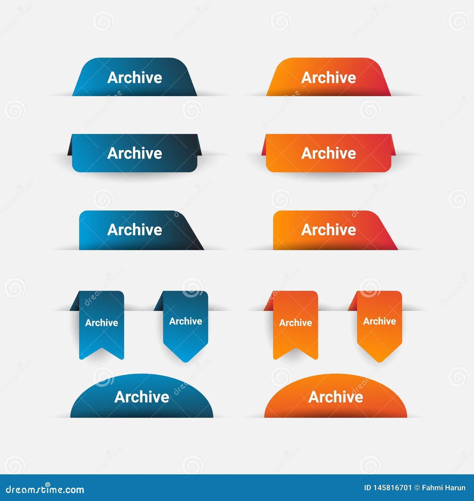 Calibre simple de collection de bannière dans bleu et orange