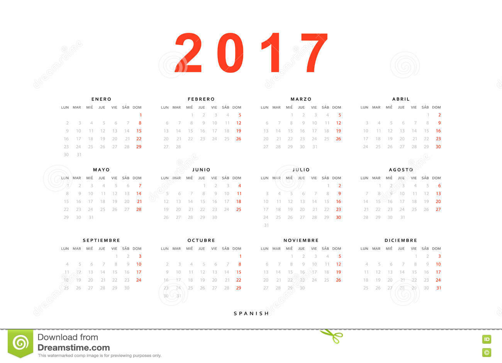 Calibre Simple Du Calendrier 2017 Pour Imprimer Dans L
