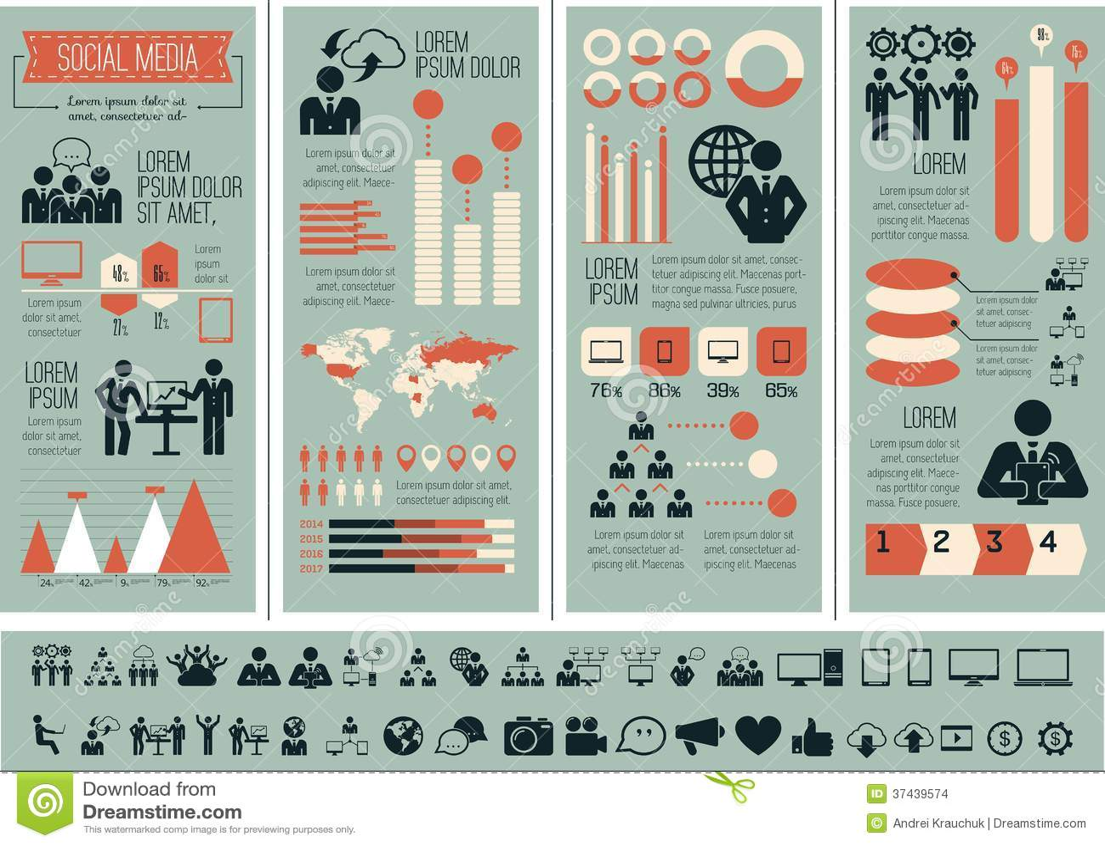 Calibre social d Infographic de media.