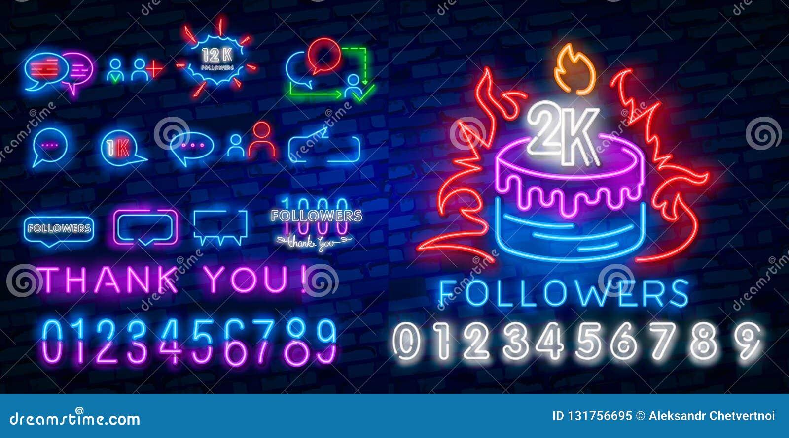 Calibre social de conception de vecteur d enseigne au néon de médias Logo au néon bloguant, tendance colorée de conception modern