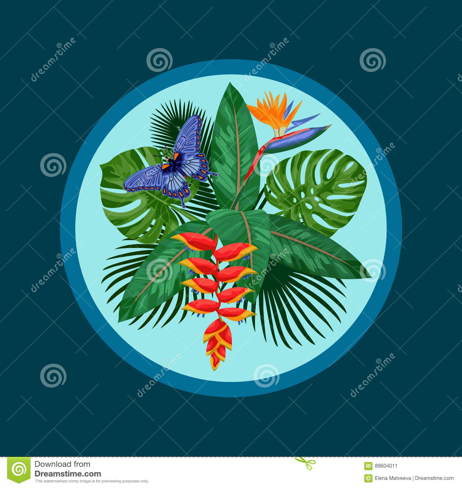 Calibre tropical de carte postale de bouquet
