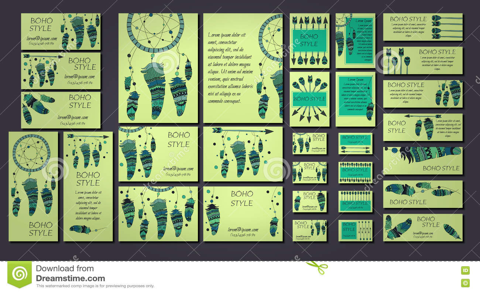 Calibres De Carte Visite Professionnelle Brochure Et Conception Boho Avec
