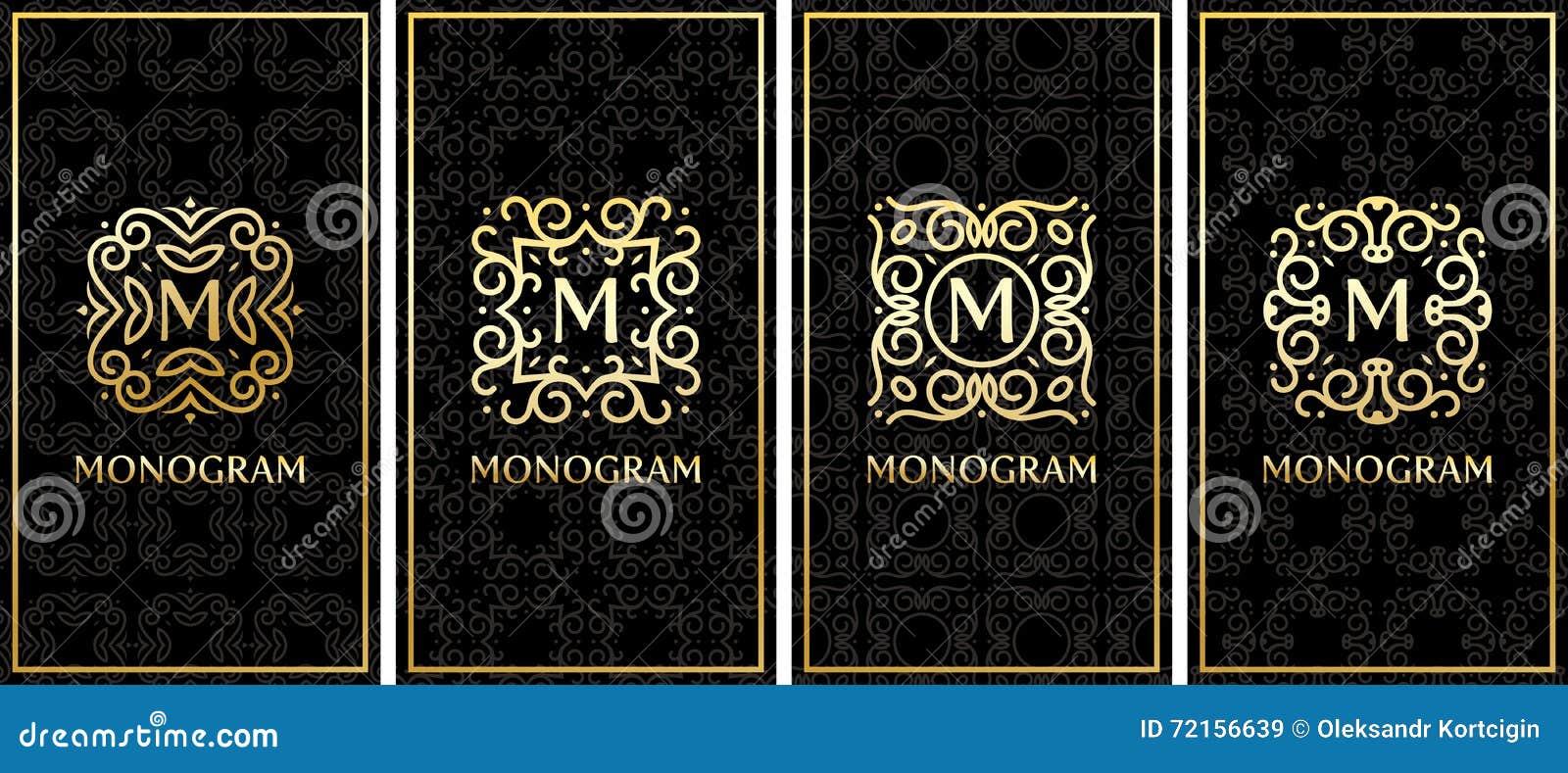 Calibres De Carte Visite Professionnelle Avec Le Monogramme Elegant Dor Sur Fond Noir