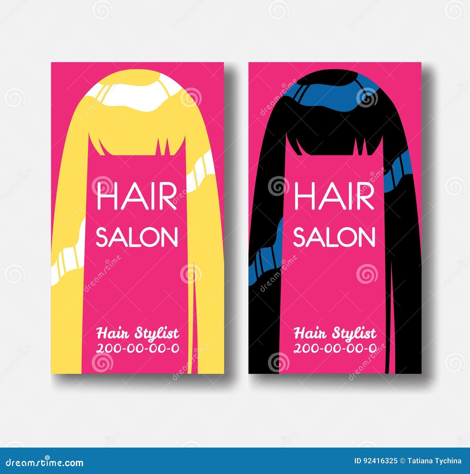 Calibres De Carte Visite Professionnelle Salon Coiffure Avec Les Cheveux Blonds