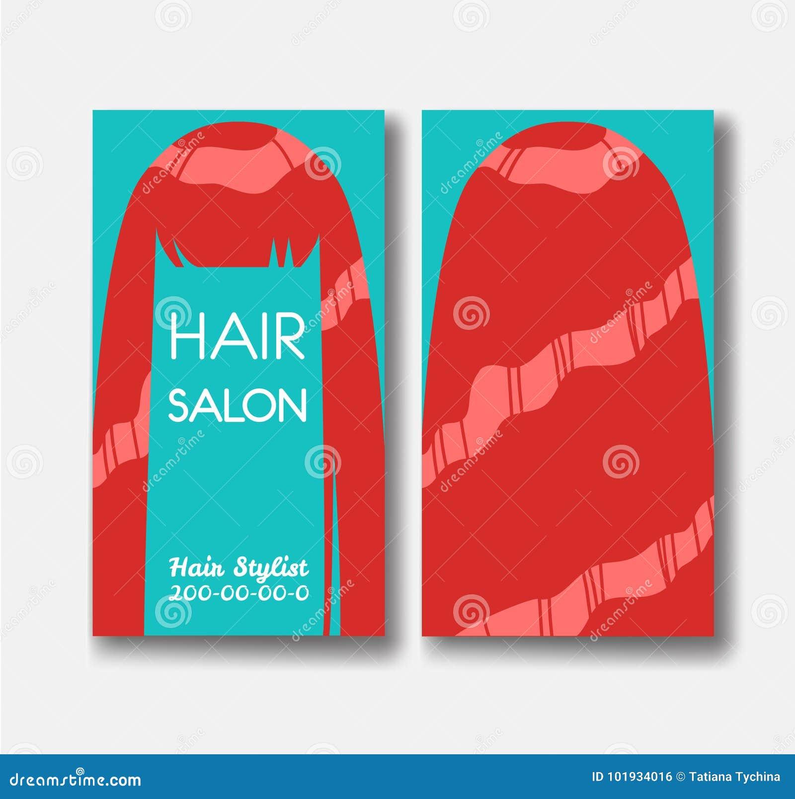Calibres De Carte Visite Professionnelle Salon Coiffure Avec Les Cheveux Rouges