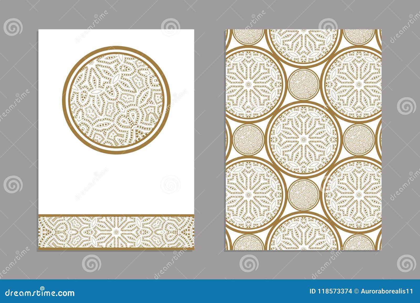 Calibres Pour Des Cartes De Visite Professionnelle Salutation Et Brochures Couvertures Avec Motifs Floraux Modele Oriental Mandala