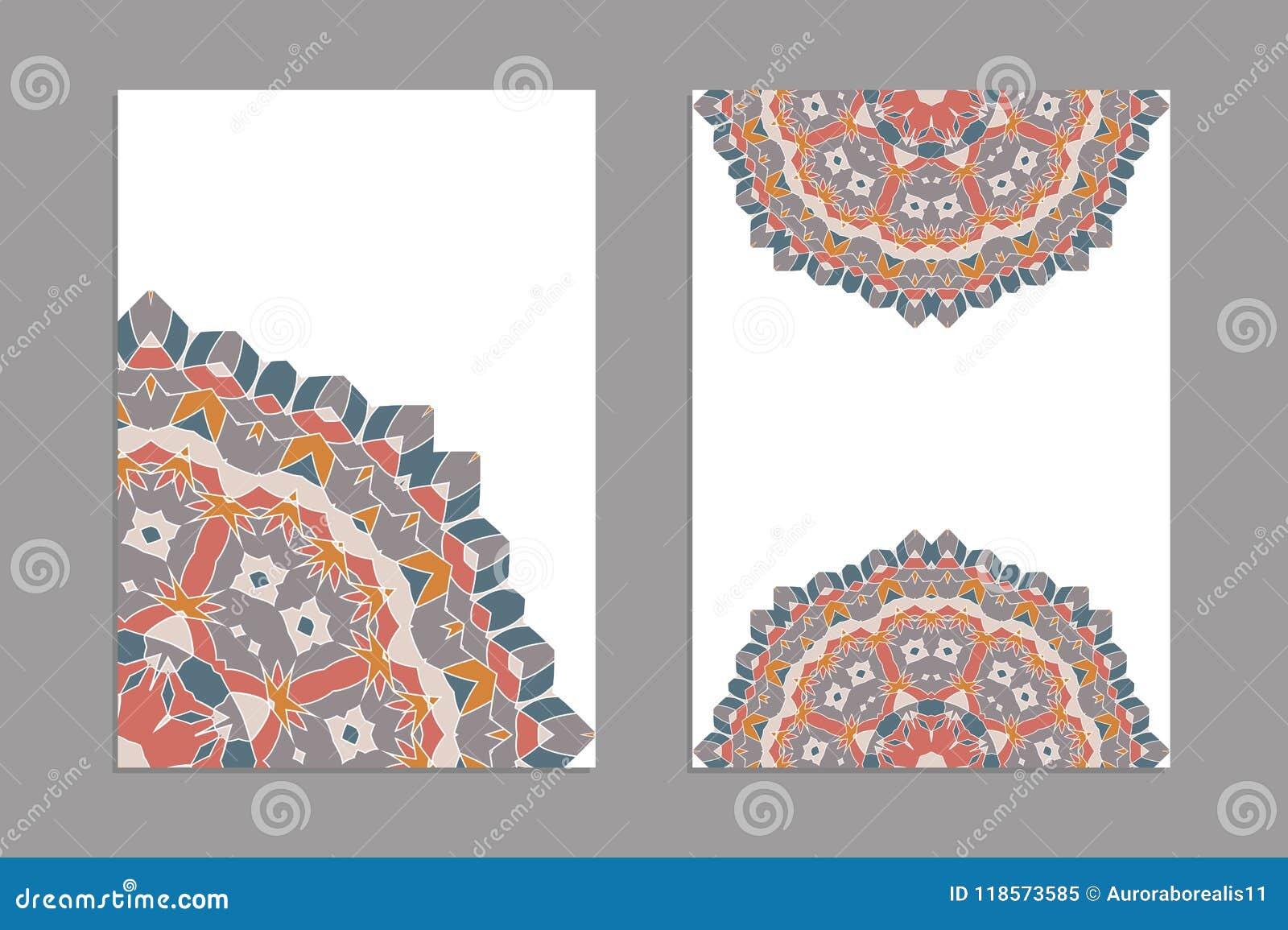 Calibres Pour Des Cartes De Visite Professionnelle Salutation Et Brochures Couvertures Avec Motifs Floraux Modle Oriental Mandala