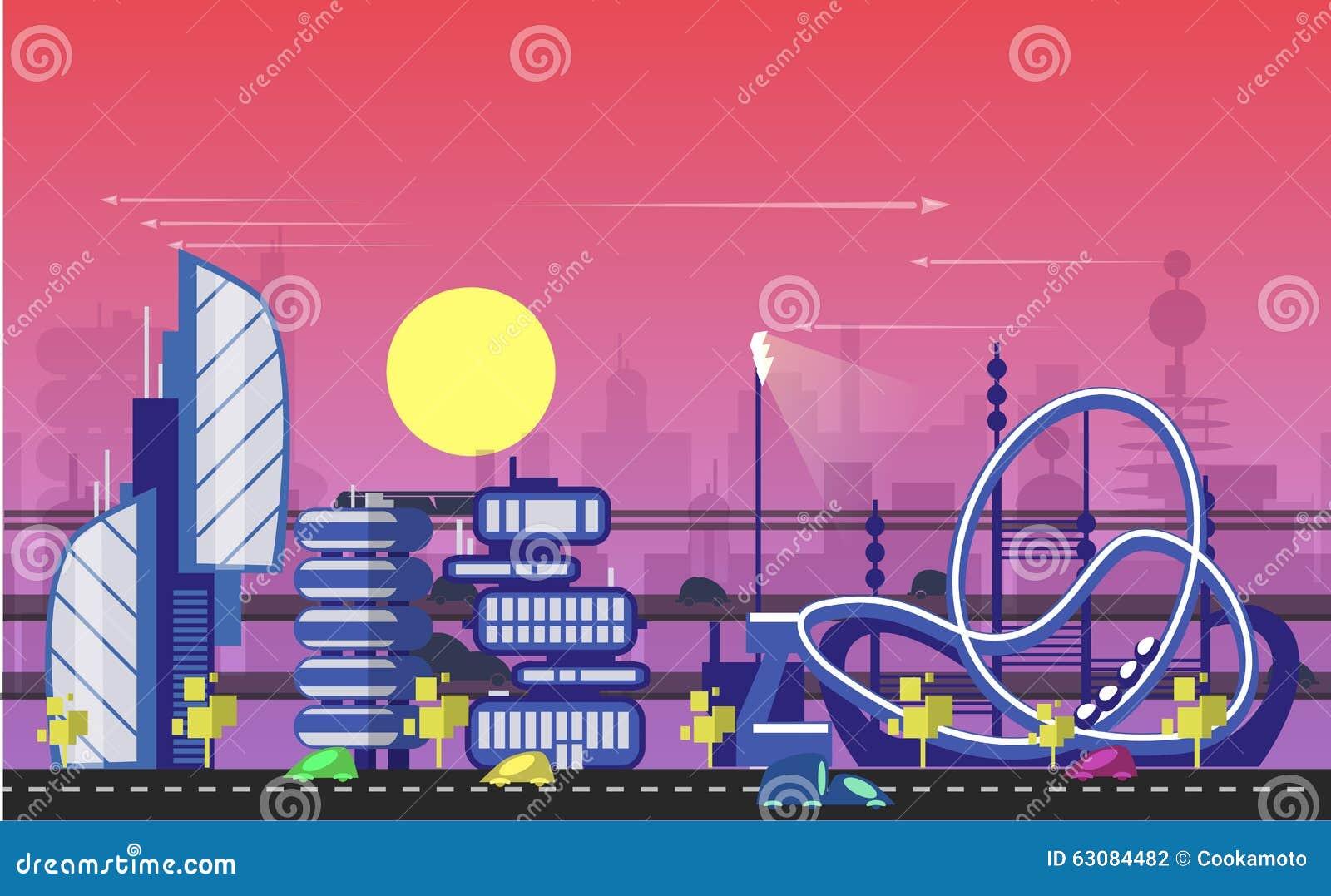 Download Calibres Urbains Occupés De Paysage Urbain Illustration de Vecteur - Illustration du abstrait, énergie: 63084482