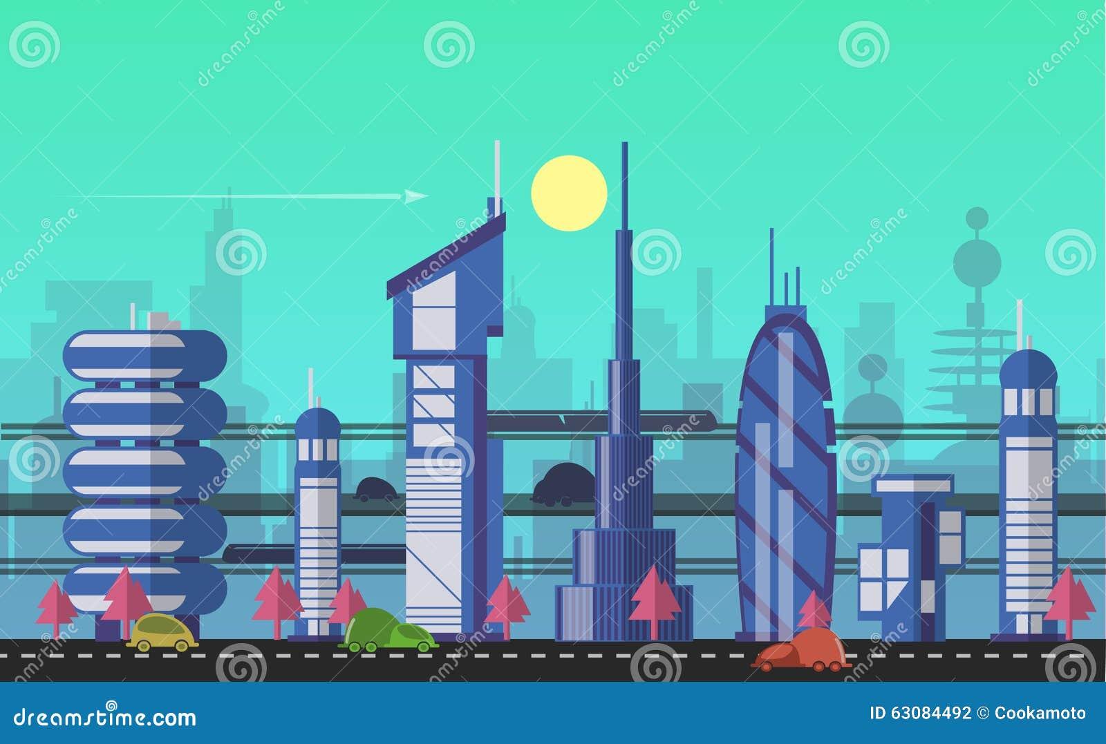 Download Calibres Urbains Occupés De Paysage Urbain Illustration de Vecteur - Illustration du lignes, développement: 63084492