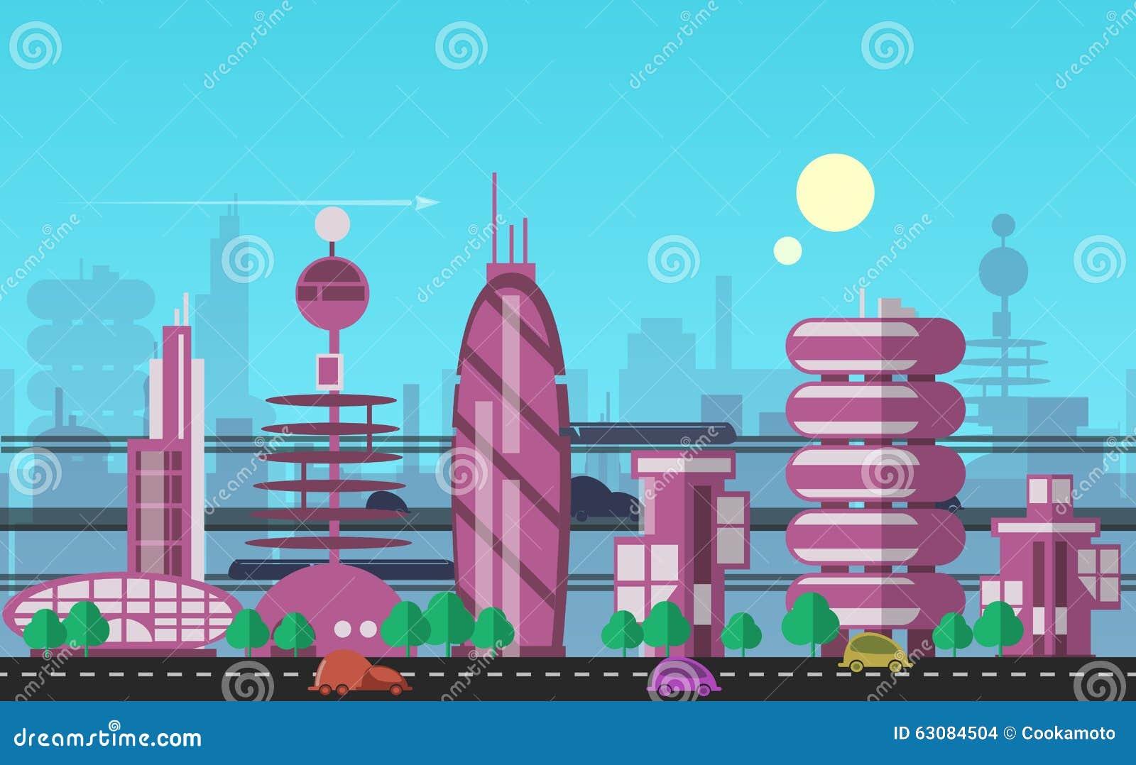 Download Calibres Urbains Occupés De Paysage Urbain Illustration de Vecteur - Illustration du énergie, électricité: 63084504