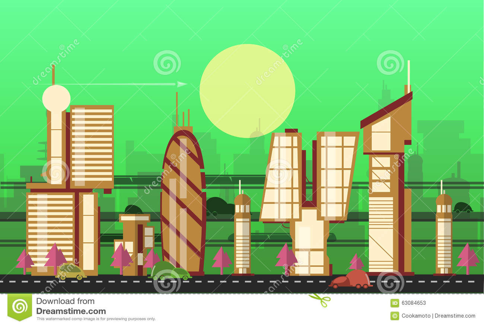 Download Calibres Urbains Occupés De Paysage Urbain Illustration de Vecteur - Illustration du contemporain, future: 63084653