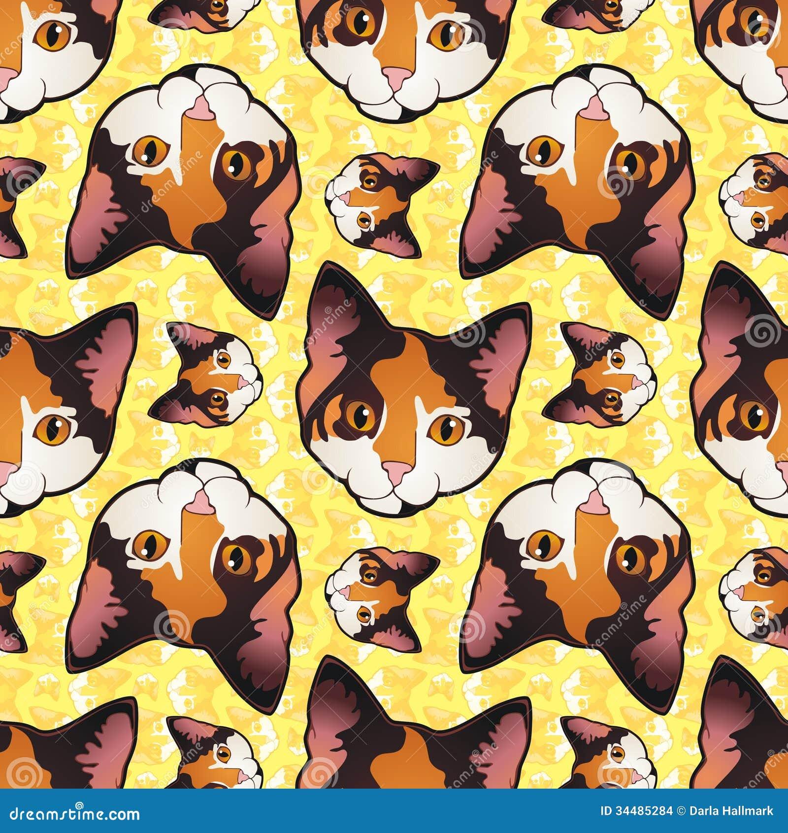 Calico Kitty Wallpaper Stock Illustration Illustration Of Pattern