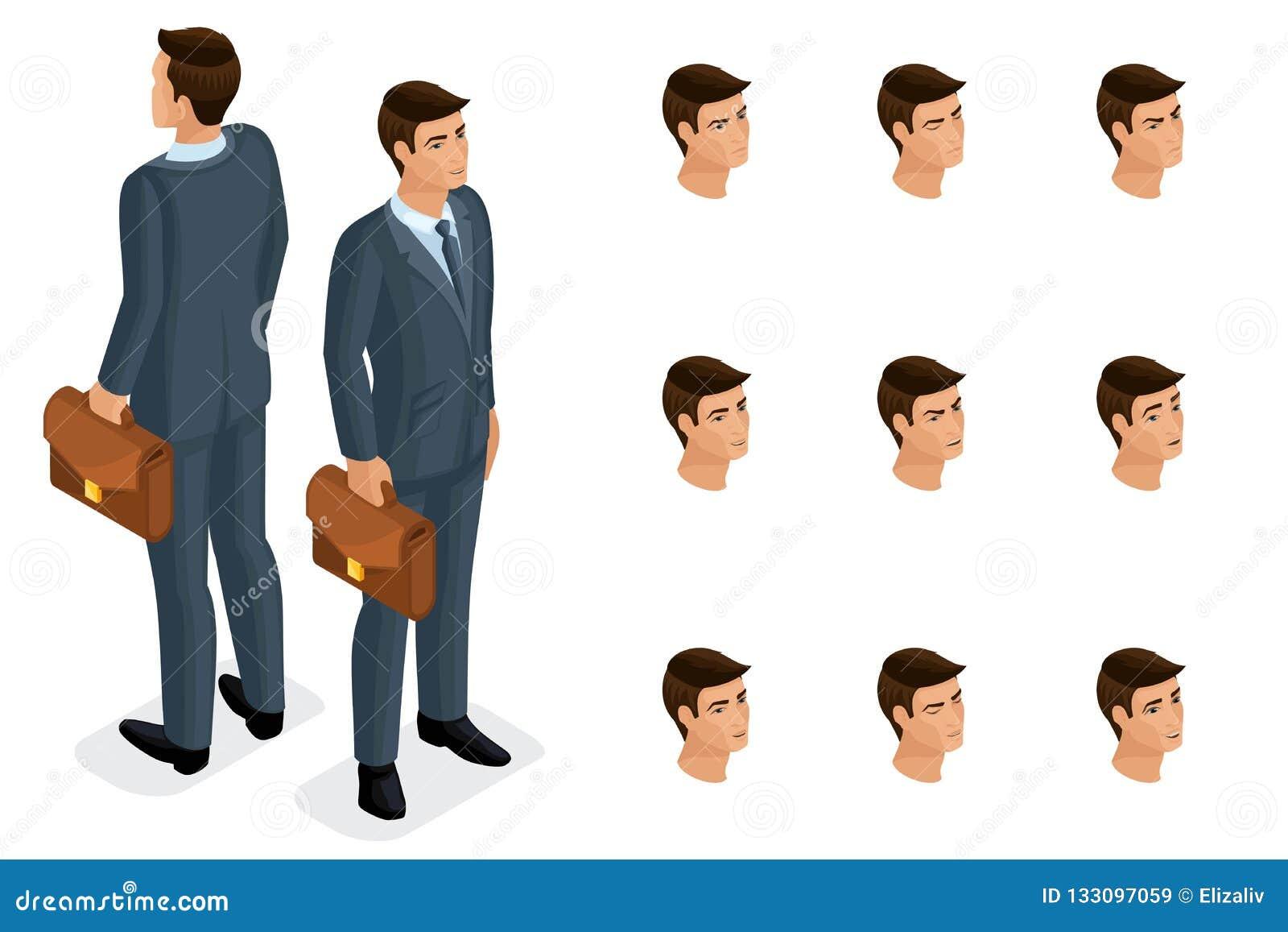 Calidad Isometry, hombre de negocios 3D con los vidrios Carácter con un sistema de las emociones para crear calidad