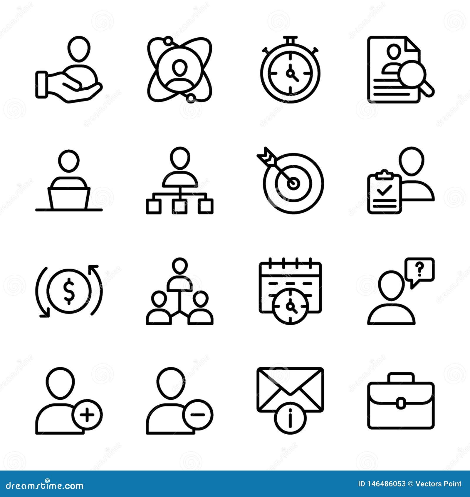 Calidad personal, línea vectores de la gestión del empleado