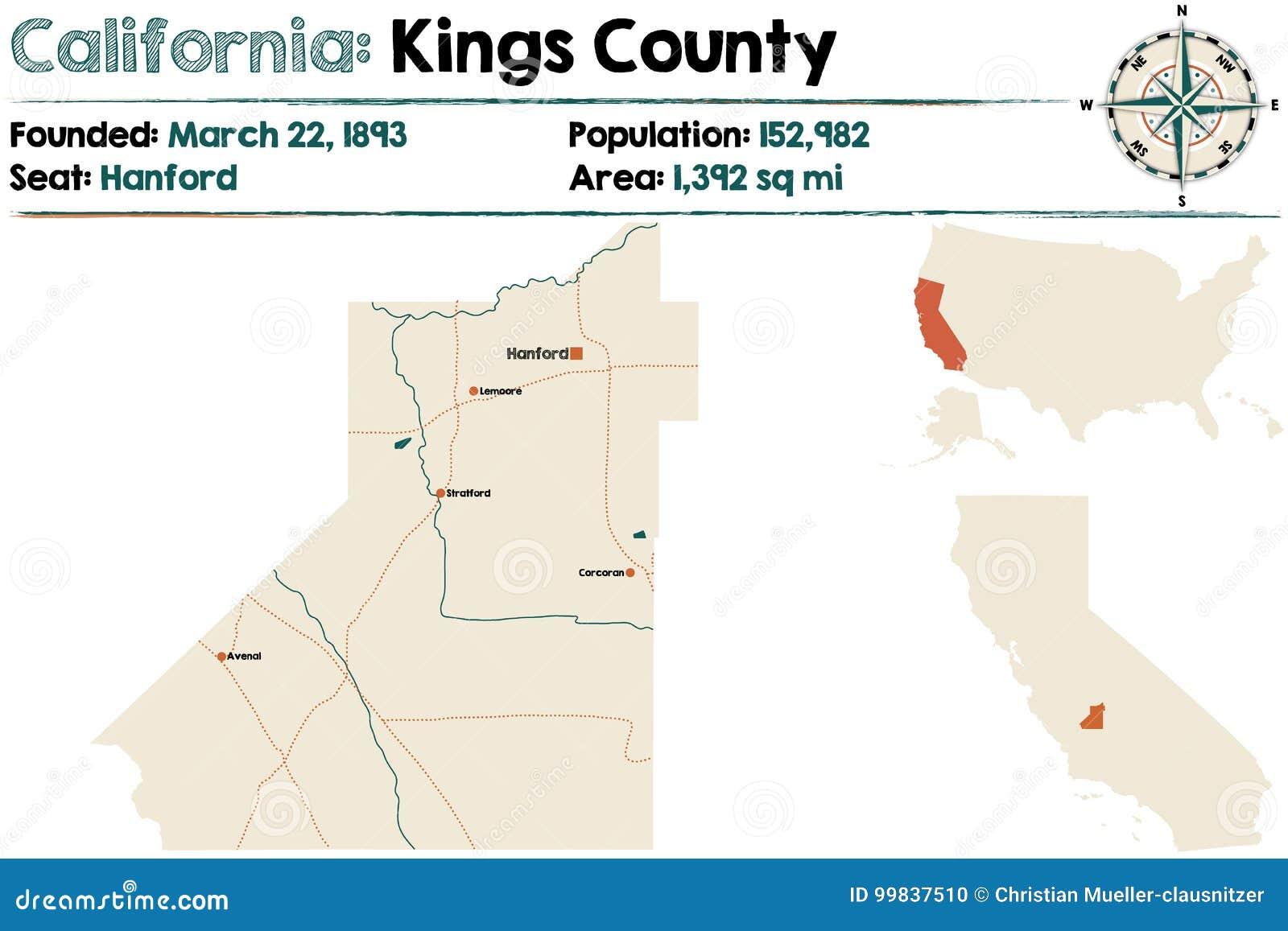 Califórnia: Mapa do Condado de Kings