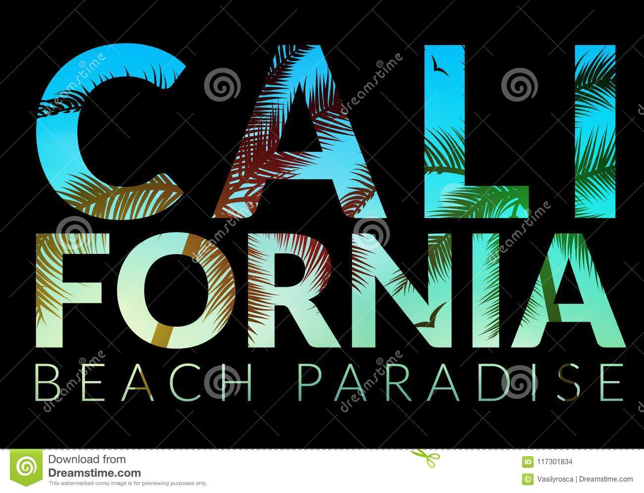 California Background With Palm  Vector Background Beach  Summer