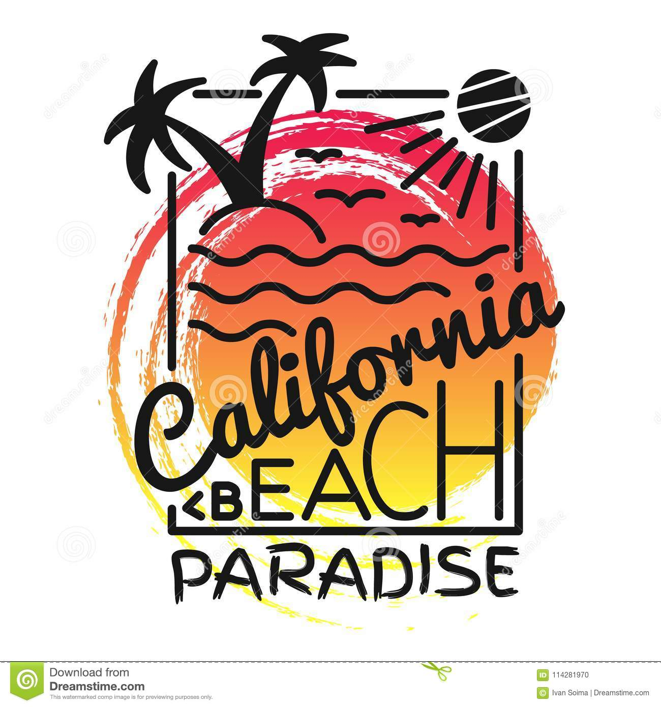 d9f59a29 California beach paradise print for t-shirt. Vector illustration on the  theme of surf