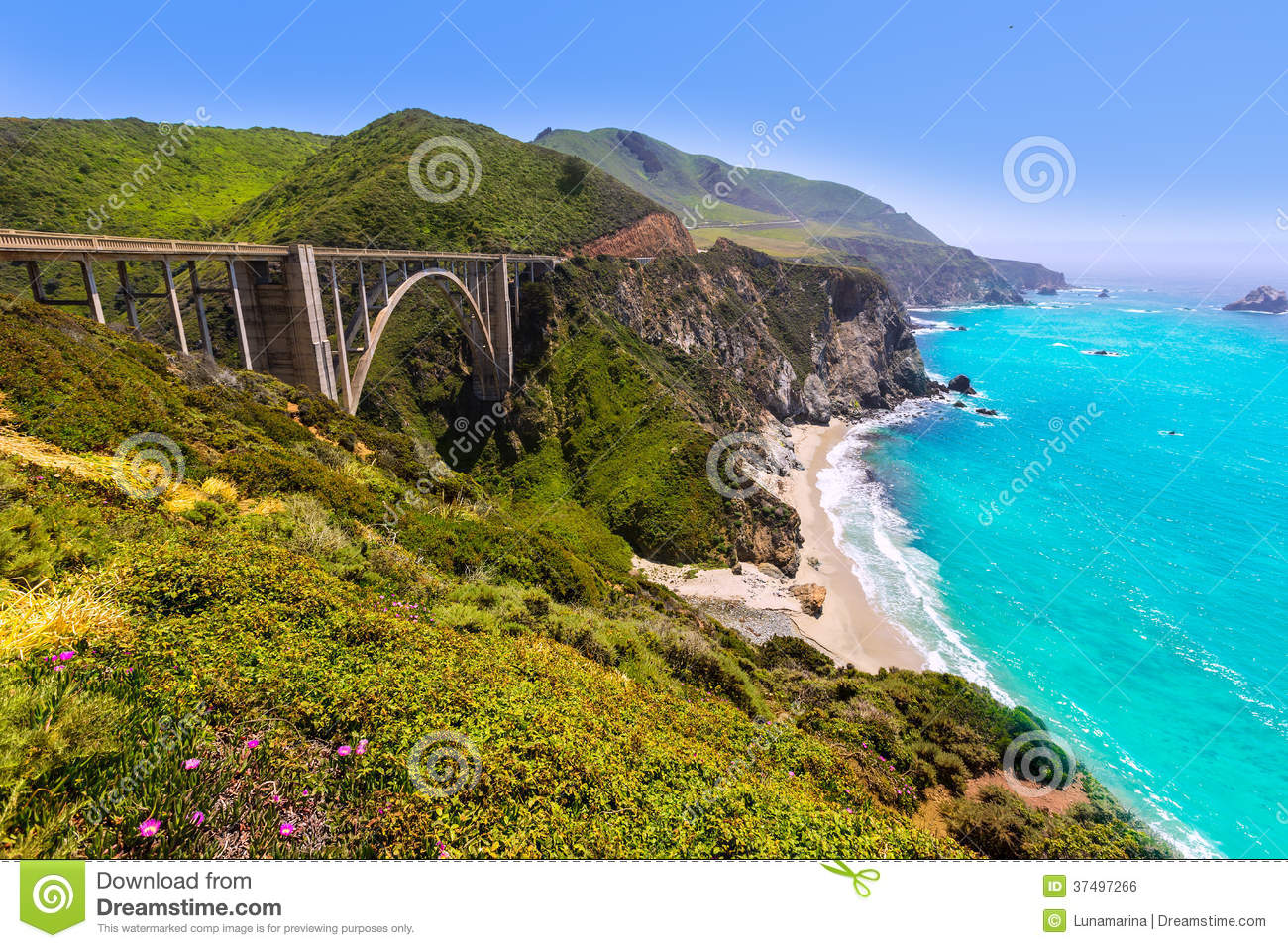 California Bixby bridge in Big Sur Monterey County in Route 1