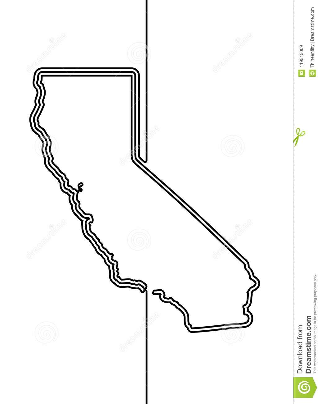 Download California Continuous Contour Vector Line Drawing Stock