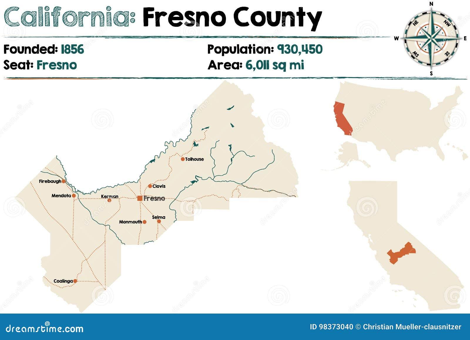 Map Of California Fresno.California Fresno County Map Stock Vector Illustration Of