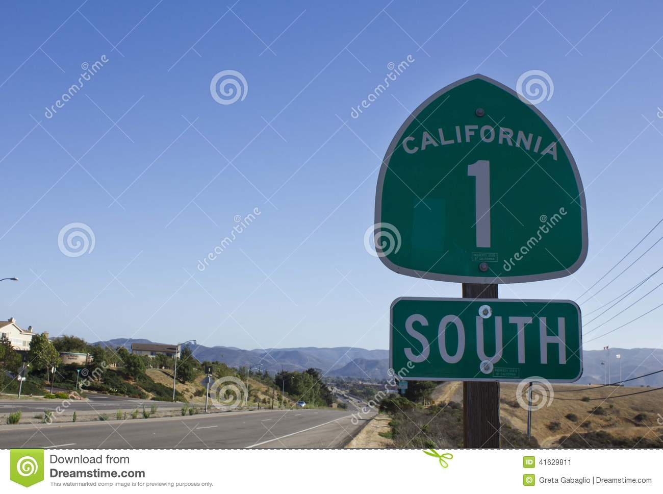 California 1 Highway Road Sign Street And Landsca Stock