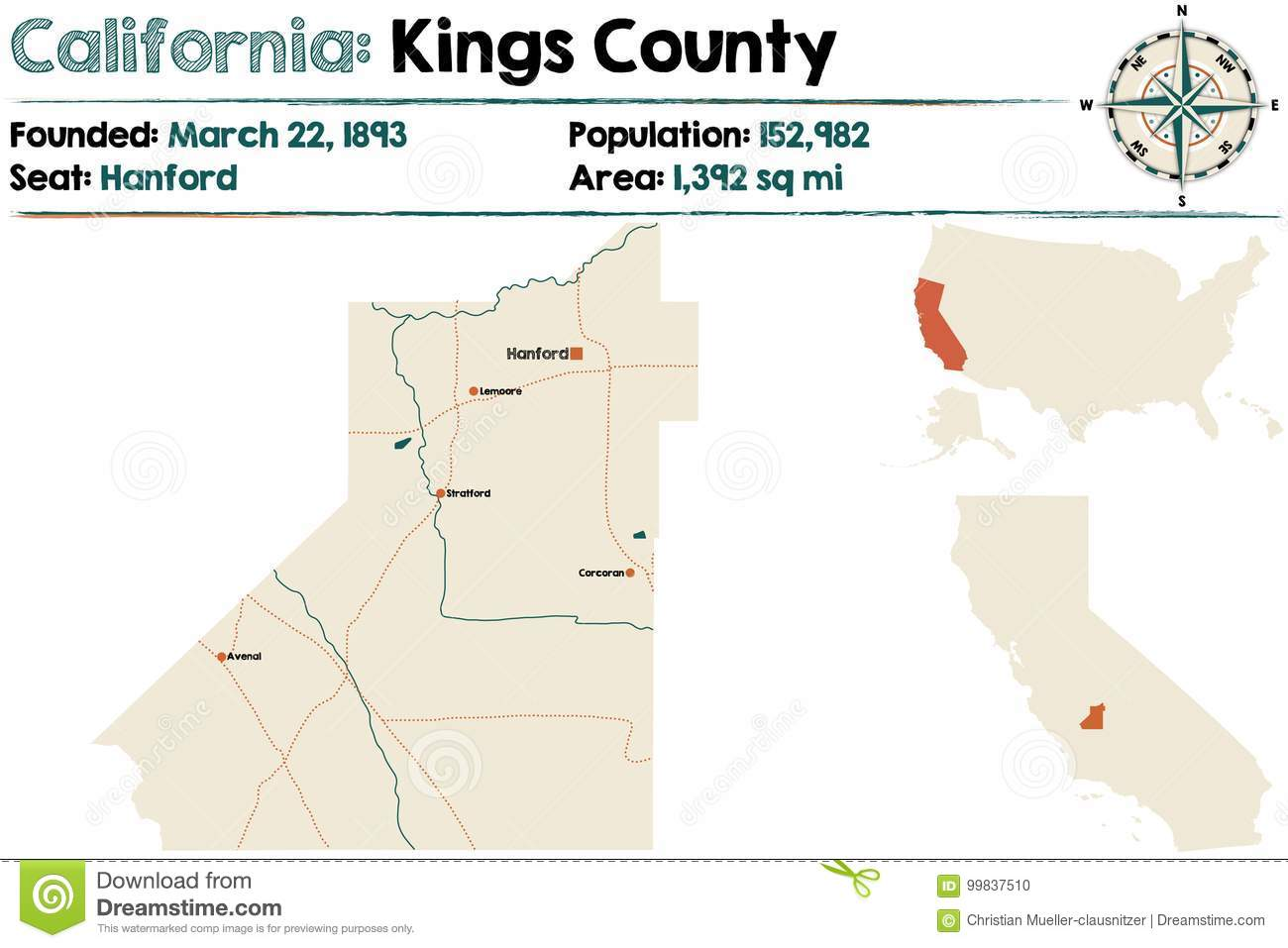 Kings County California Map.California Kings County Map Stock Vector Illustration Of Colors
