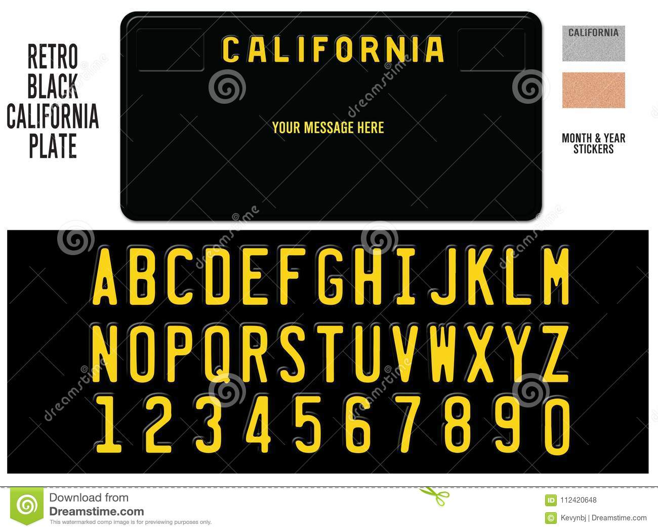 California License Plate Black Retro Design Stock Illustration