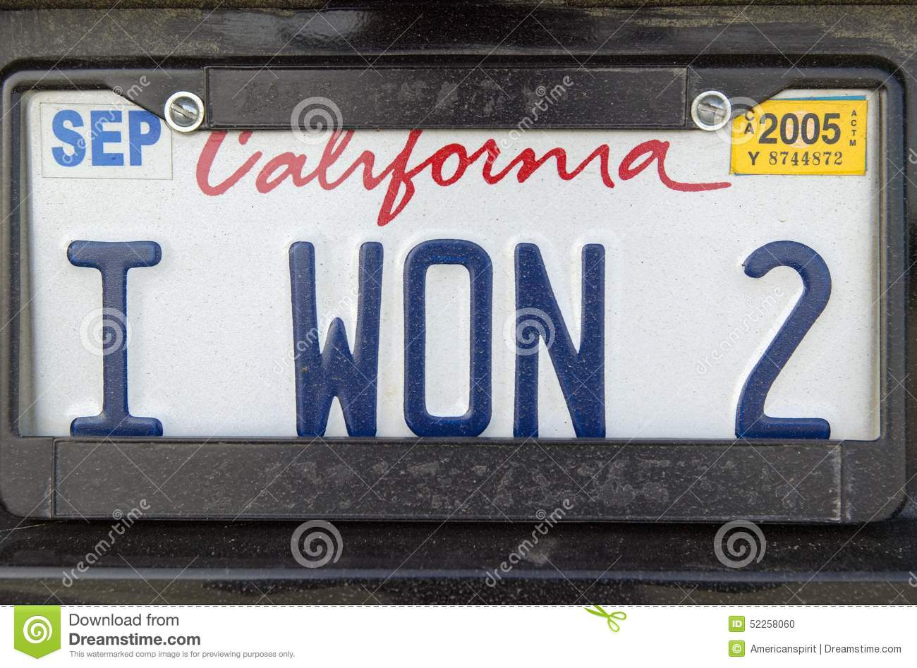 California License Plate Reads I Won 2 Editorial Image Image