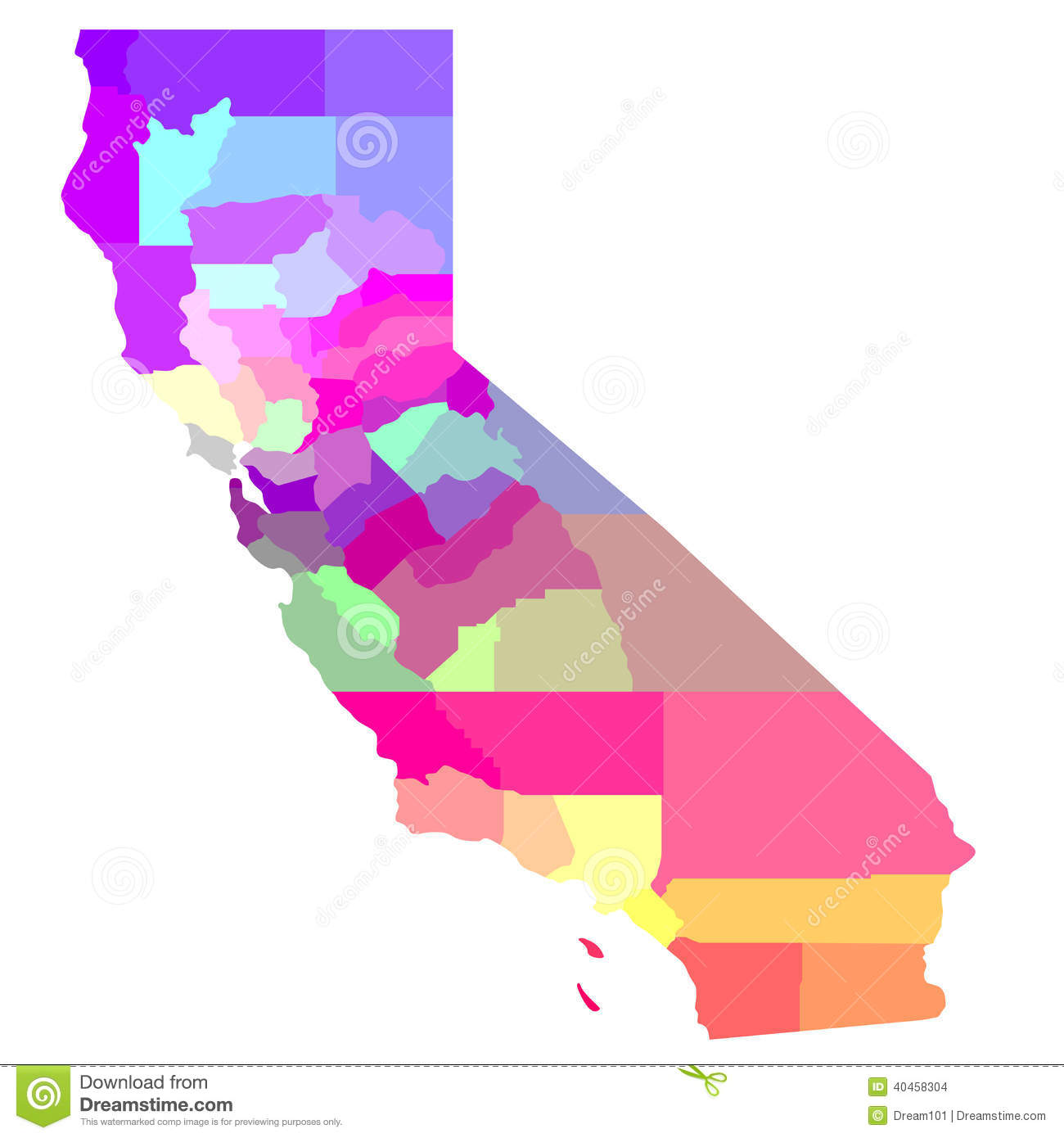 California Map Stock Photo Image - Detailed map of california