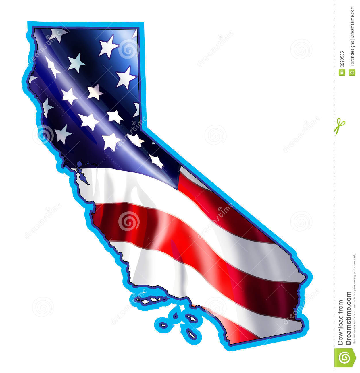 California Map With Flag Illustration Royalty Free Stock Photo - Us map american flag