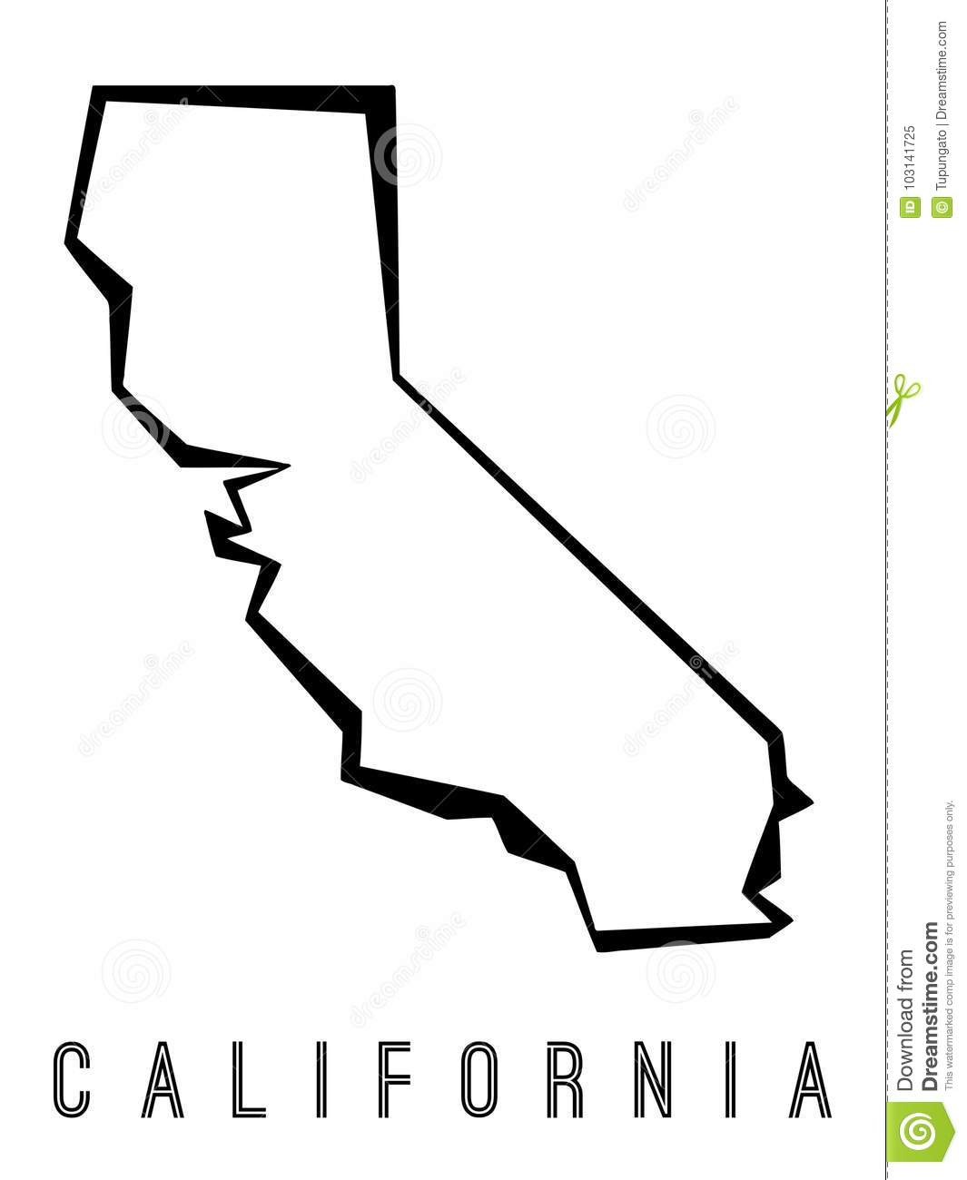 California Geometric Map Stock Vector Illustration Of Simple