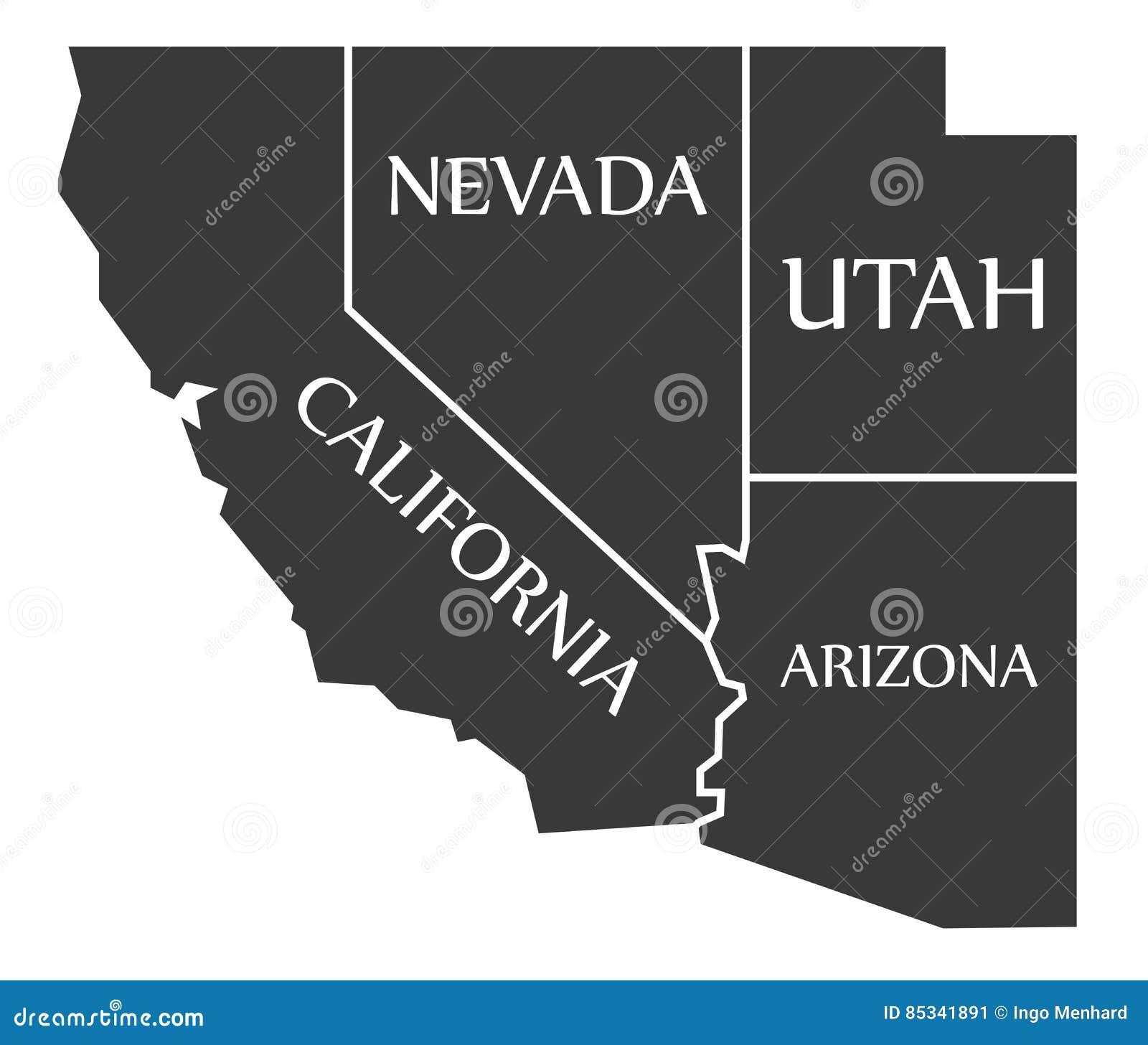 Map Of Nevada Arizona.California Nevada Utah Arizona Map Labelled Black Stock