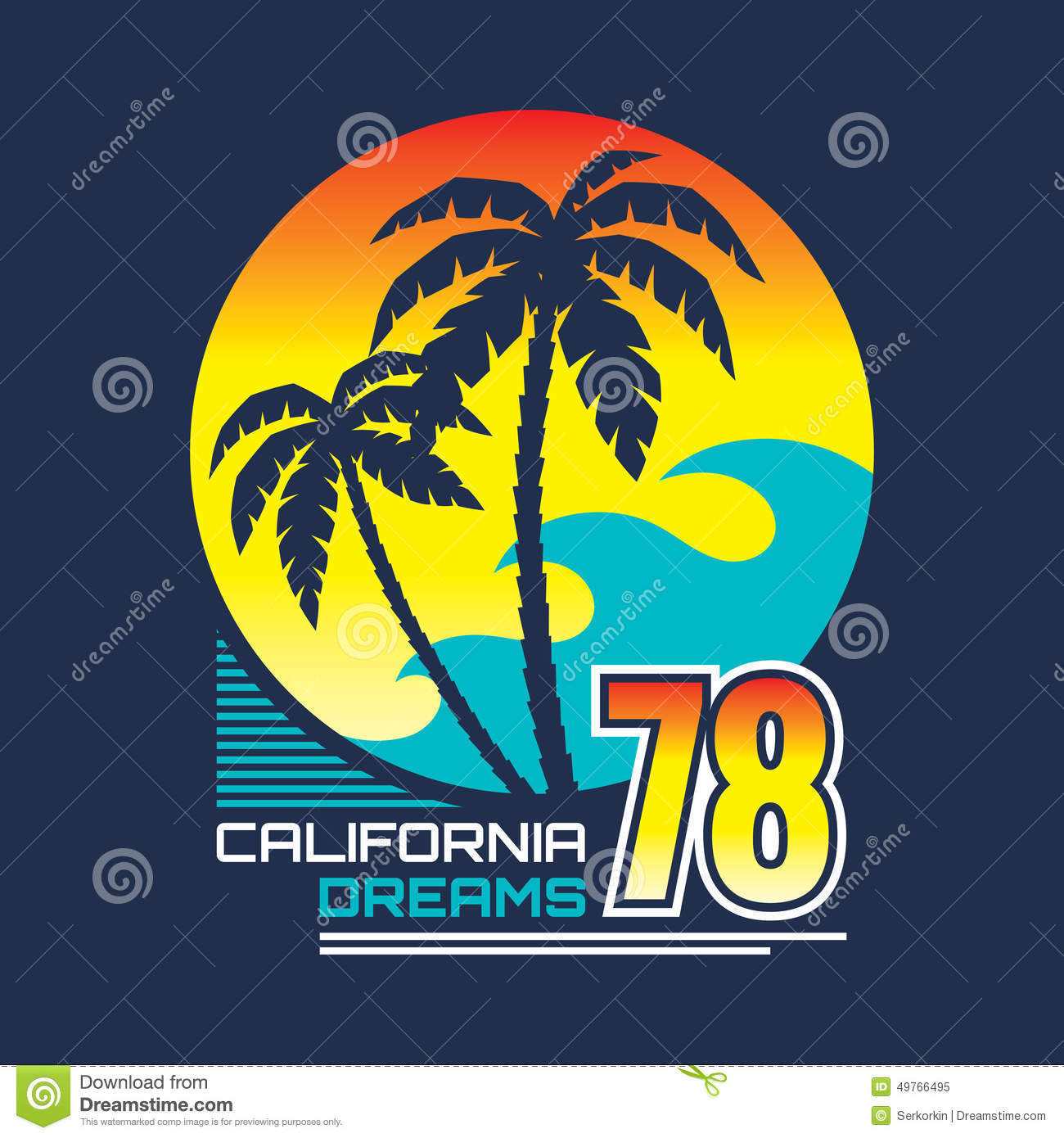 California nights vector illustration concept in vintage for Sun t shirts sunland california