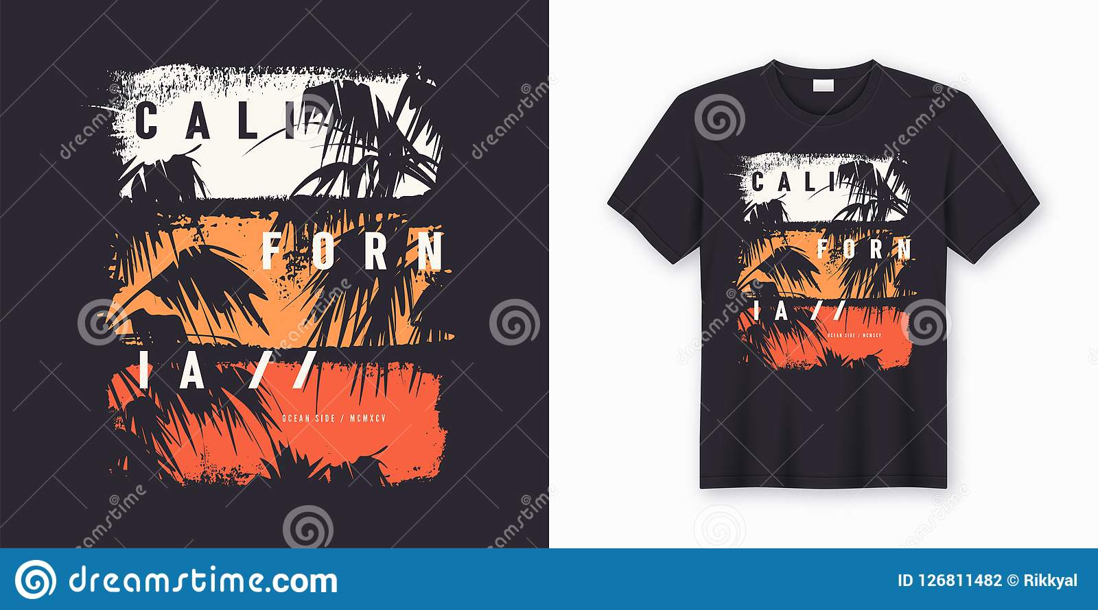 b262199a1 California Ocean side stylish t-shirt and apparel trendy design with palm  trees silhouettes, typography, print, vector illustration. Global swatches.
