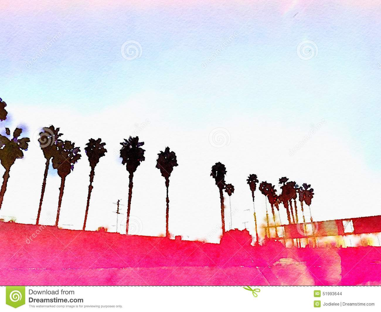 California Palm trees Los Angeles pink graphic watercolor background