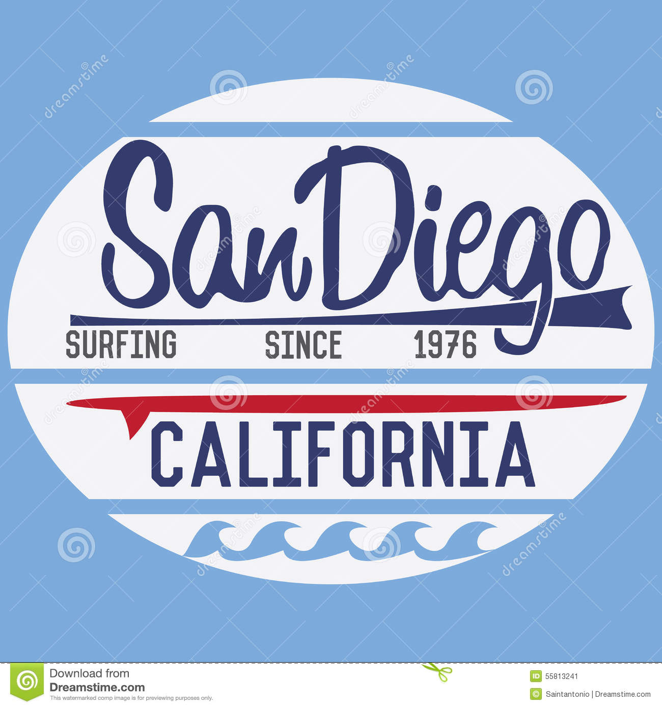 California San Diego Typography T Shirt Printing Design