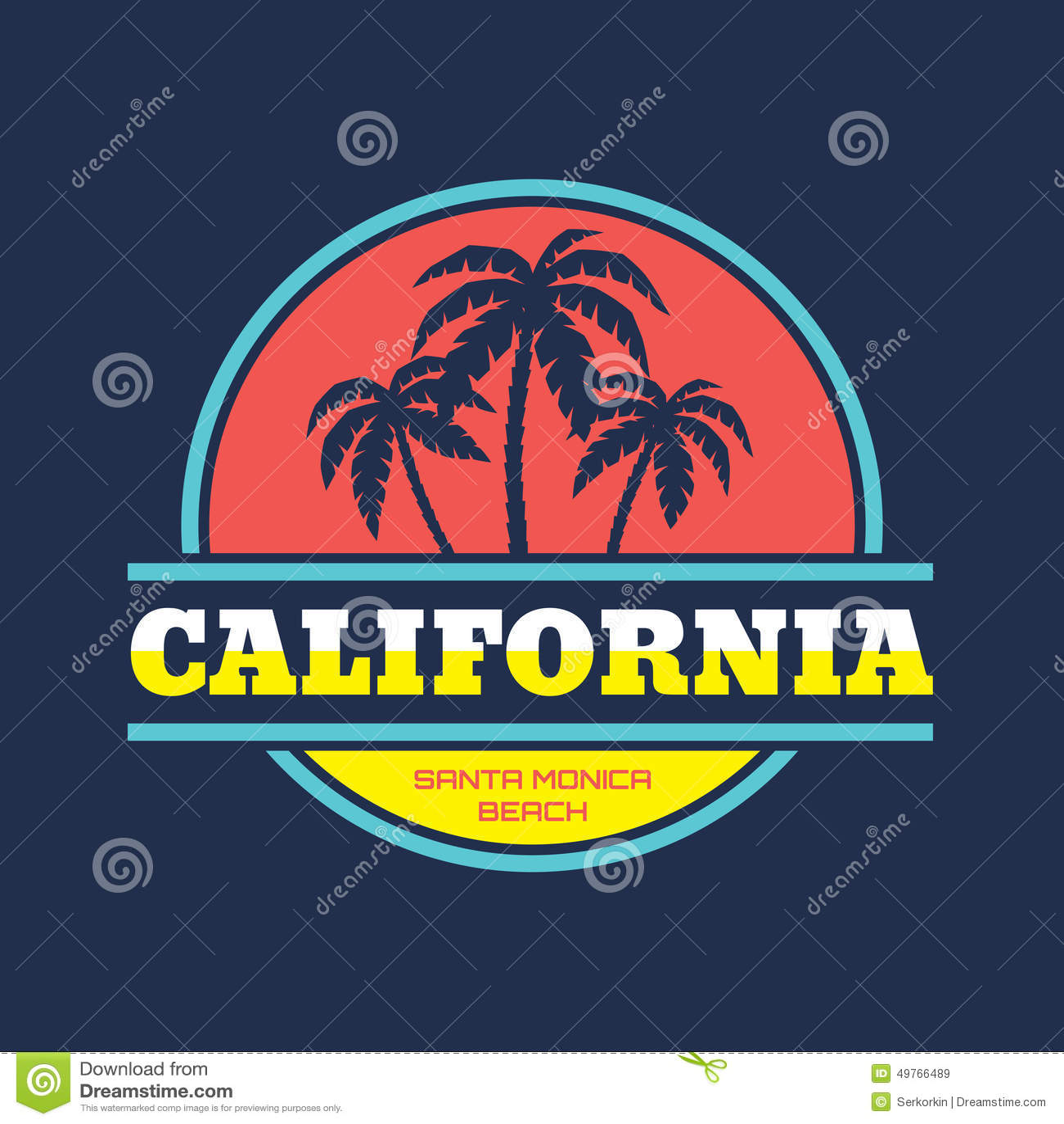 California Santa Monica Beach Vector Illustration Concept In