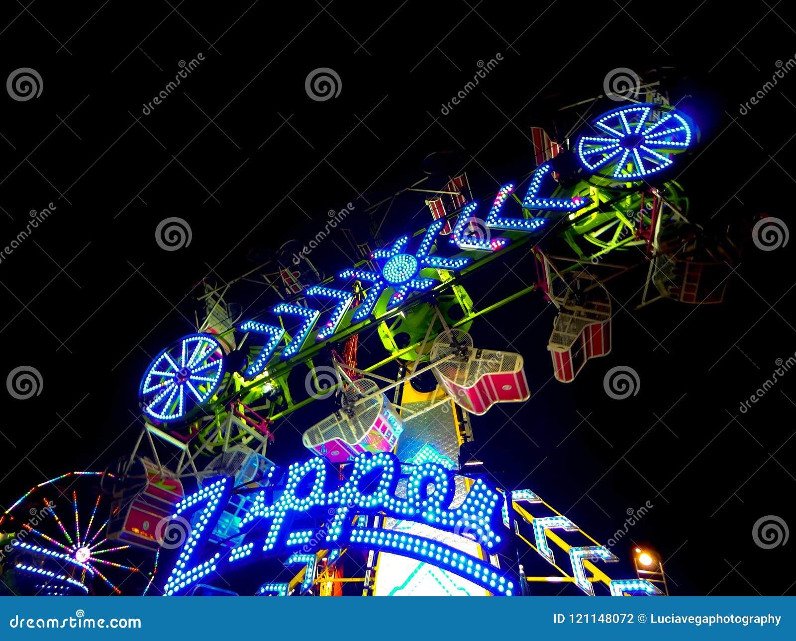 California State Fair Blue Zipper Ride Editorial Photography