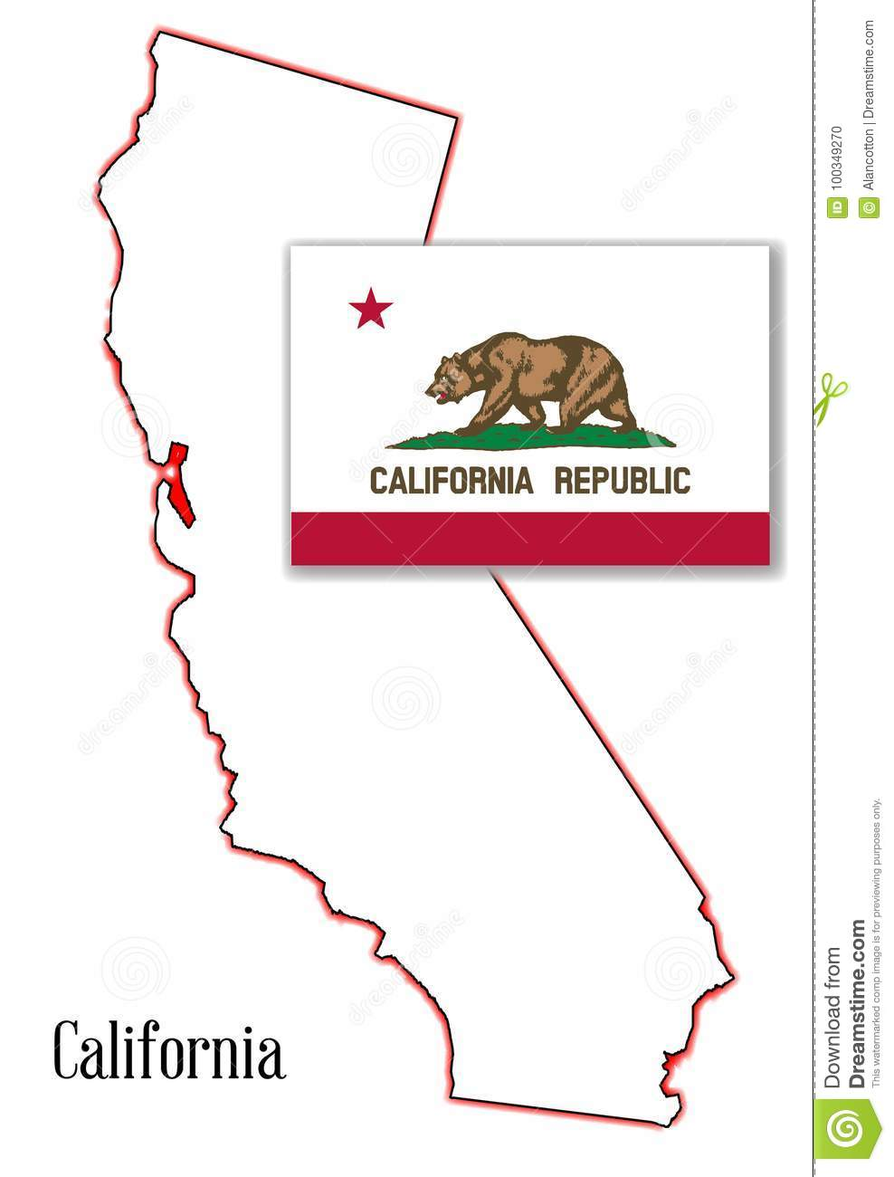 California State Map And Flag Stock Vector